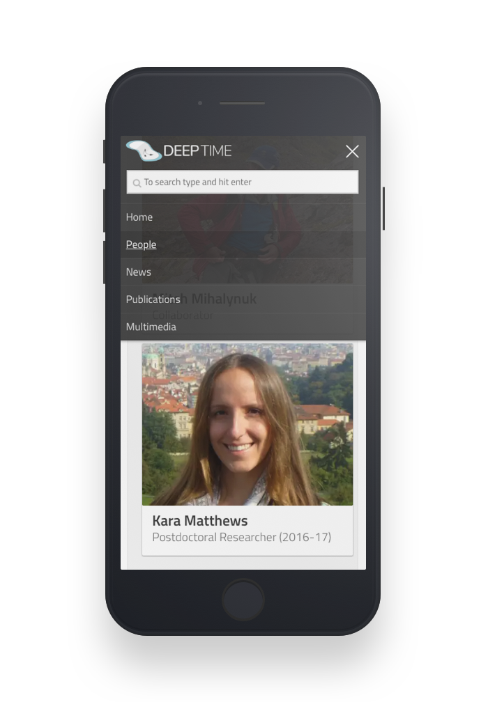 DEEP TIME People page on mobile