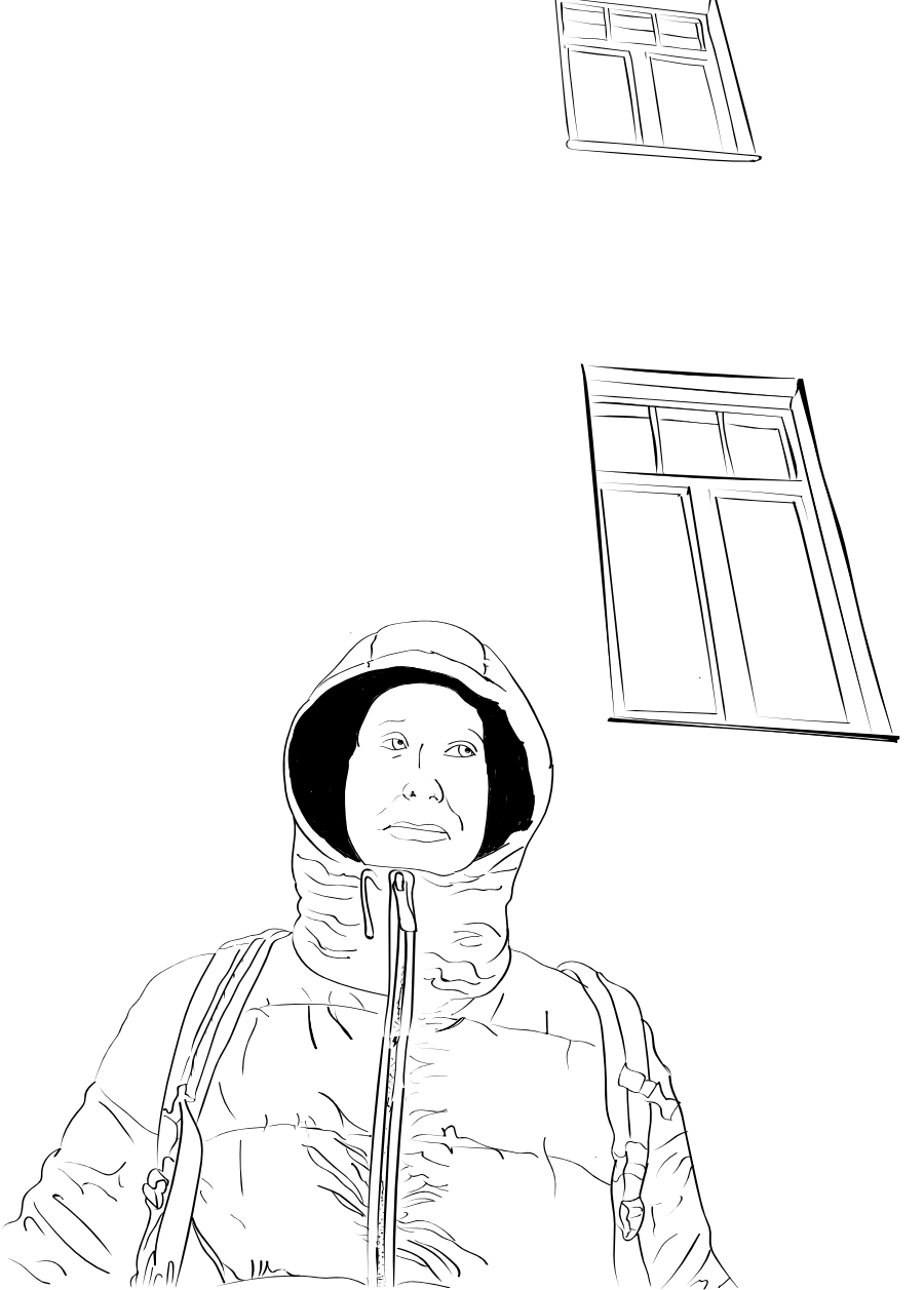 Black and white drawing of Steve in front of some windows