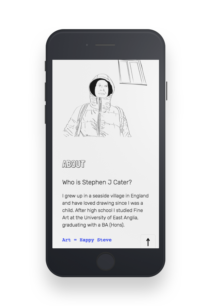 Stephen J Cater website - About Steve page on mobile